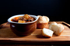 Lamb stew with cloverleaf buns. Hearty home made stew with lamb and fresh vegetables and buns for dipping Royalty Free Stock Image
