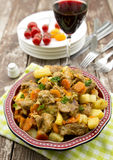 Lamb stew. Maroccan-style lamb stew with vegetables, spiced with ginger, saffron, turmeric and cinnamon Stock Image