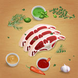 Lamb with tasty sauces and spices Royalty Free Stock Image
