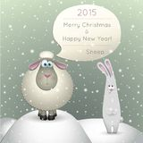 Lamb on a winter background. Illustration of a lamb on a winter background. 2015 New Year of the Sheep Royalty Free Stock Photo