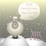 Lamb on a winter background. Illustration of a lamb on a winter background. 2015 New Year of the Sheep Stock Photos