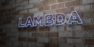 LAMBDA - Glowing Neon Sign on stonework wall - 3D rendered royalty free stock illustration Royalty Free Stock Image