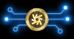 Lambda LAMB cryptocurrency coin with glowing blockchain transaction schematic. Lambda LAMB cryptocurrency gold coin on the background of glowing blockchain stock video footage