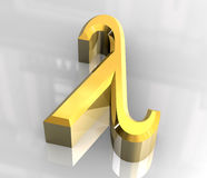Lambda symbol in gold (3d) Royalty Free Stock Photography