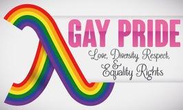 Lambda Symbol like a Rainbow Ribbon for Gay Pride, Vector Illustration Royalty Free Stock Photography