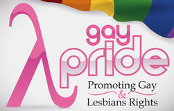 Lambda Symbol and Rainbow Flag for Gay Pride and Rights, Vector Illustration Royalty Free Stock Photo