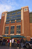 Lambeau Field Green Bay Packers Tailgate Party. Lambeau Field, venue and home of the Green Bay Packers. Packer fans can be seen having a tailgate party on game royalty free stock images