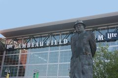 Lambeau Field in Green Bay, WI. The entrance for Lambeau Field in Green Bay, WI with a statue of Vince Lombardi in front royalty free stock photo