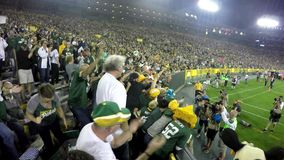 Lambeau Leap Green Bay Packers Football. The Green Bay Packers score a touchdown and an NFL players jumps into the crowd of fans in a Lambeau Leap at Lambeau stock video