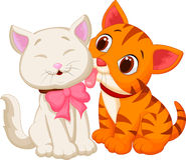 Lambedura do gato dos desenhos animados Foto de Stock