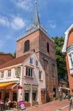 Lamberti教会和商店在奥里希县的历史中心 免版税库存照片