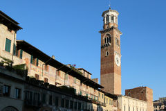 The Lamberti Tower in the old town of Verona, Italy Royalty Free Stock Images