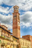 Lamberti Tower in Piazza Signori in Verona, Italy Stock Image