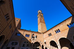 Lamberti Tower and Ragione Palace - Verona Italy Stock Images