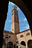 The Lamberti Tower in Verona, Italy Stock Image