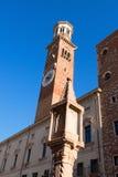Lamberti-Turm im Marktplatz Erbe - Verona Italy Lizenzfreie Stockbilder