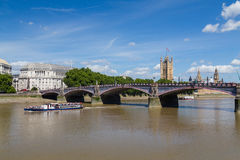 Lambeth Bridge, Boat and Westminster Stock Image