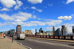 Lambeth Bridge London. Lambeth Bridge is a road traffic and footbridge crossing the River Thames in an east-west direction in central London, the river flows Stock Photography
