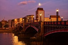 Lambeth Bridge at night Stock Photography