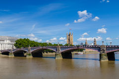 Lambeth Bridge and Westminster in the Summer. Lambeth Bridge in London during the summer. The River Thames and Westminster can be seen. There is space for text Royalty Free Stock Image