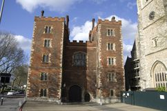 Lambeth Palace. Is the official London residence of the Archbishop of Canterbury in England, in north Lambeth, on the south bank of the River Thames, 400 yards stock photos