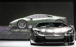 黑Lamborghini超级汽车 库存图片