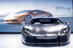 黑Lamborghini超级汽车 免版税库存图片