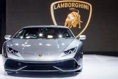 黑Lamborghini超级汽车 免版税图库摄影