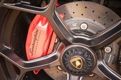 Lamborghini跑车盘式制动器 免版税库存照片