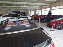 Lamborghini Avendator. Luxury car dealer. Luxury car dealer. Lamborghini Avendator. Rich men toys. Mercedes-Benz S royalty free stock image