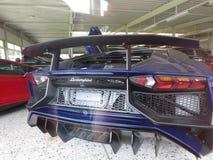 Lamborghini avendator. Rear part color blu royalty free stock photos