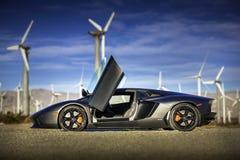 Lamborghini Aventador在棕榈泉 免版税库存照片