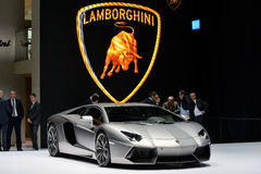 Lamborghini Aventador car. Lamborghini Aventador motor car pictured at the Geneva Motor Show in Switzerland, 2014 Royalty Free Stock Images