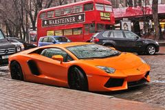 September 18, 2012, Kyiv. Ukraine. lamborghini aventador in the city. Lamborghini aventador in the city stock photos