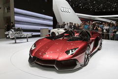 Lamborghini Aventador J - Geneva Motor Show 2012. Lamborghini took everyone by surprise by presenting a roofless and windshild-free version of the Aventador at Stock Photography