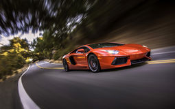 Lamborghini Aventador in Live Oak Canyon Stockbilder