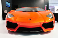 Lamborghini Aventador LP 700-4 on display Royalty Free Stock Photos