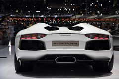 Lamborghini Aventador lp700-4 Open tweepersoonsauto - de Show van de Motor van Genève 2013 Stock Foto's
