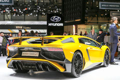 2015 Lamborghini Aventador LP 750-4 SuperVeloce. Geneva, Switzerland - March 4, 2015: 2015 Lamborghini Aventador LP 750-4 SuperVeloce presented on the 85th Royalty Free Stock Photos