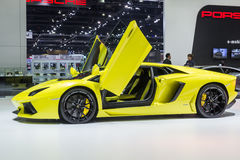 Lamborghini Aventador LP 700-4 visade i Thailand den 37th Bangkok internationella motoriska showen royaltyfri foto