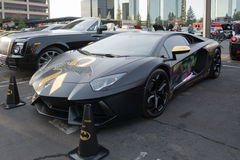 Lamborghini Aventador på skärm royaltyfria bilder