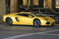 Lamborghini. Aventador parked out side of Crown in Melbourne Stock Photography