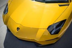 Lamborghini Aventador S Closeup Front Hood royaltyfri fotografi
