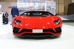 The Lamborghini Aventador S Coupe sportscar is on Dubai Motor Show 2017 Stock Photography