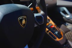 Lamborghini Aventador Steering Wheel. At Exotics on Cannery Row stock photos