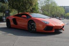 Lamborghini Aventador su esposizione immagine stock