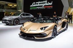 Lamborghini Aventador SVJ roadstersportbil royaltyfri bild
