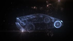 Lamborghini błękitna cząsteczek 3D animacja ilustracji