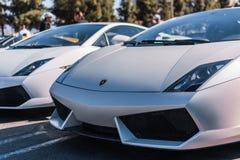 Lamborghini bianco su parcheggio di mostra ad un avvenimento annuale eccellente fotografia stock libera da diritti