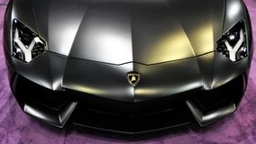 Lamborghini. Black Lamborghini on a purple carpet stock image